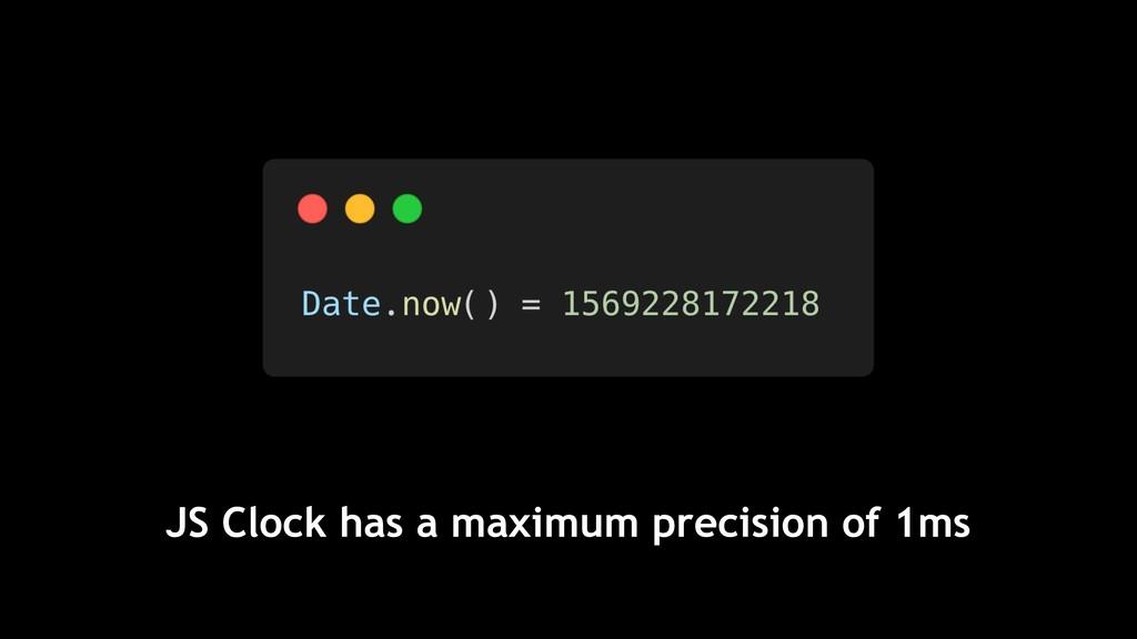 JS Clock has a maximum precision of 1ms