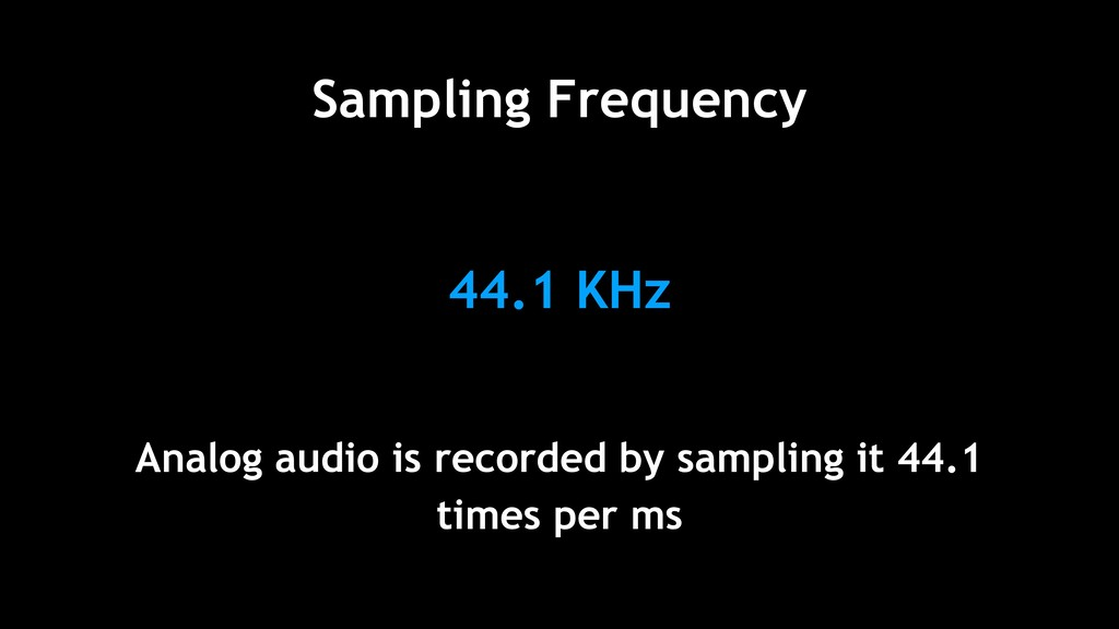 44.1 KHz Analog audio is recorded by sampling i...