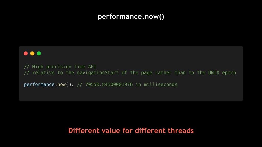 performance.now() Different value for different...