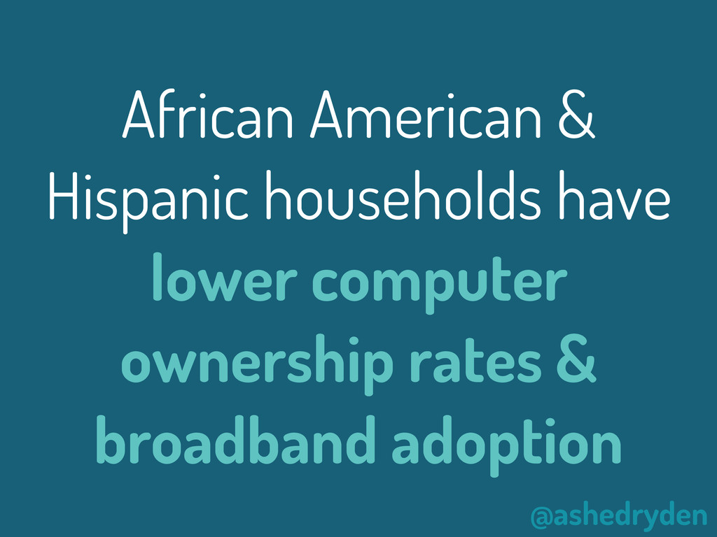 @ashedryden African American & Hispanic househo...