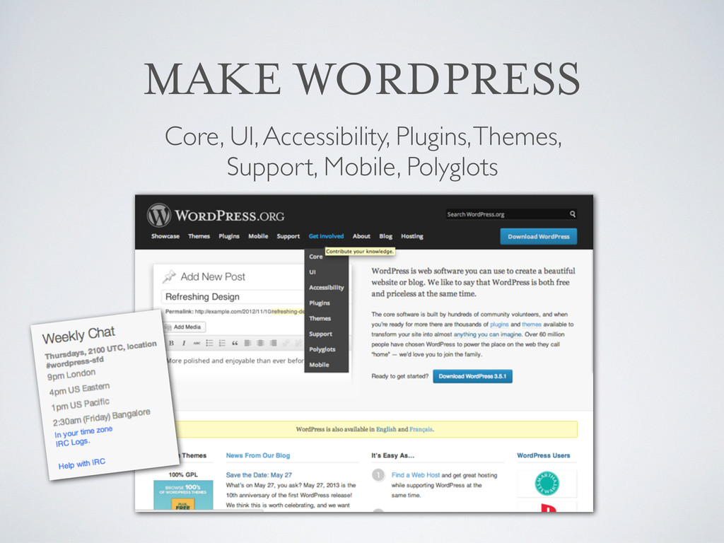 MAKE WORDPRESS Core, UI, Accessibility, Plugins...