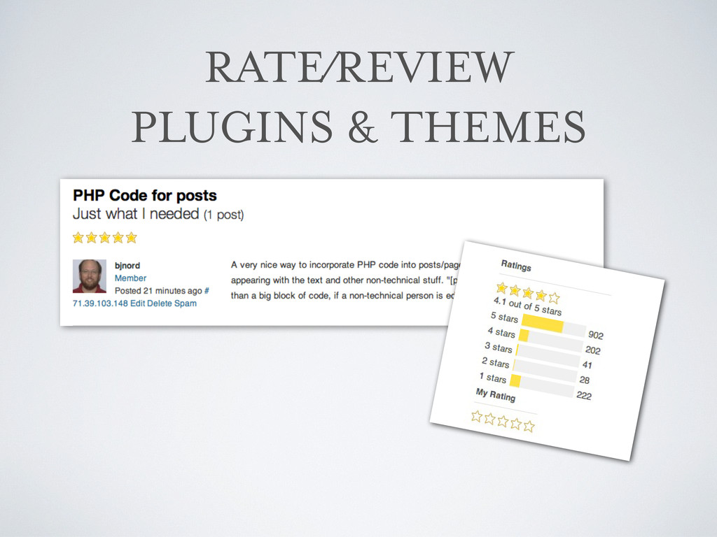 RATE/REVIEW PLUGINS & THEMES