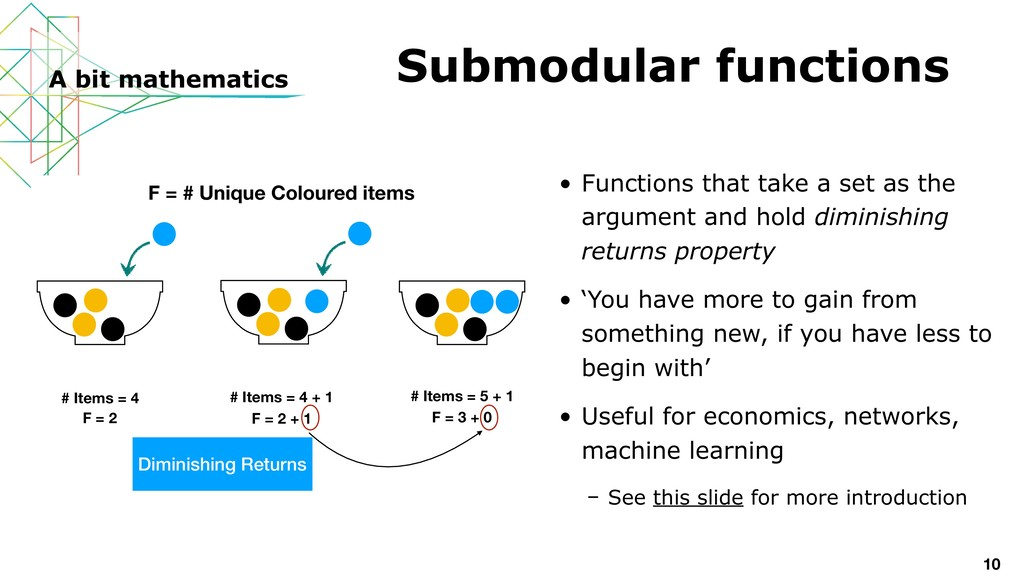 • Functions that take a set as the argument and...
