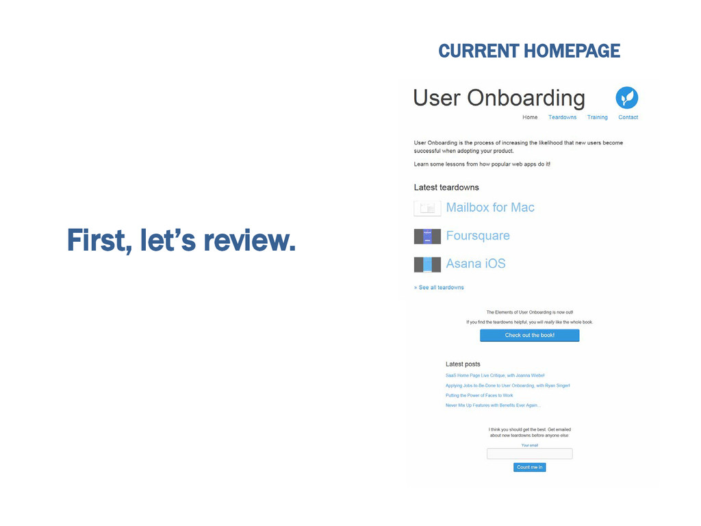 First, let's review. CURRENT HOMEPAGE