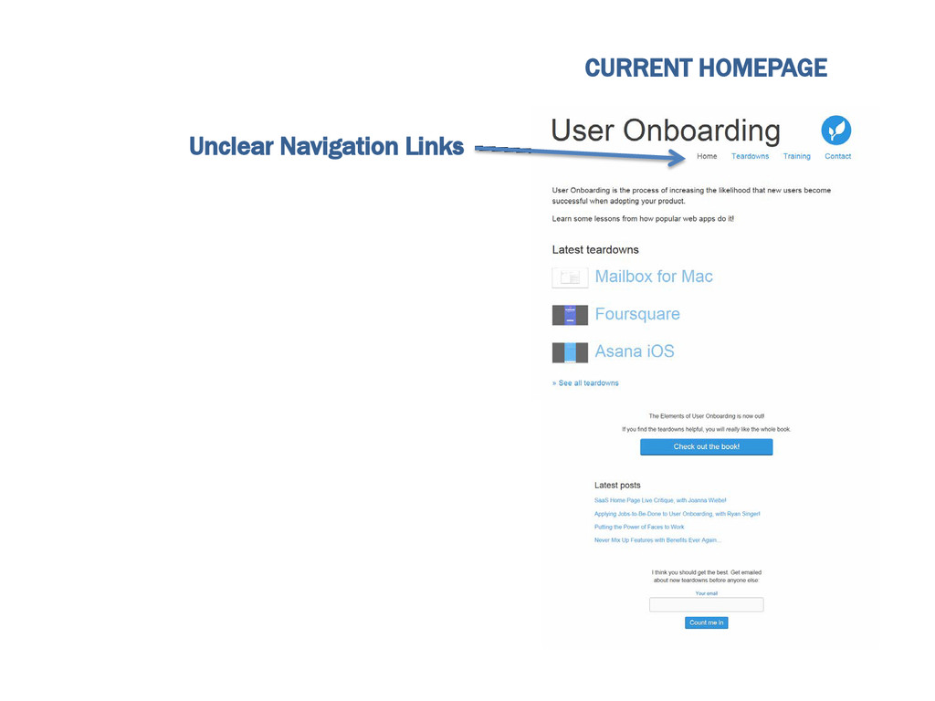 CURRENT HOMEPAGE Unclear Navigation Links