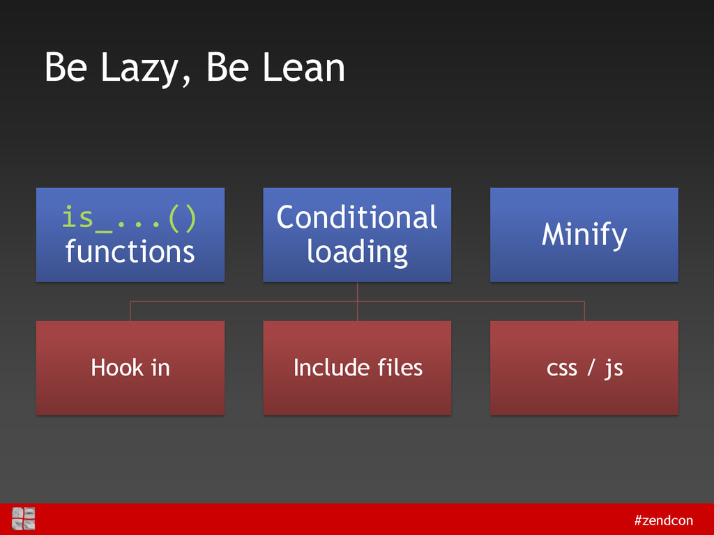 #zendcon Be Lazy, Be Lean is_...() functions Co...