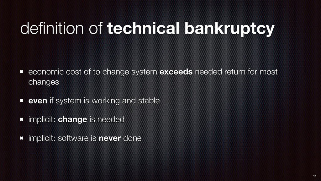 definition of technical bankruptcy economic cost...
