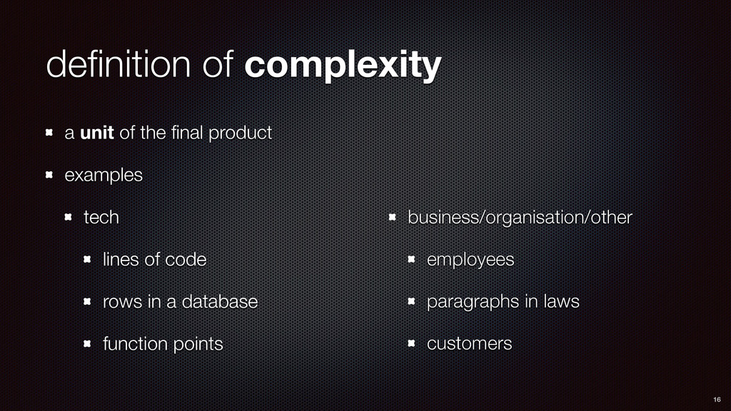 definition of complexity a unit of the final prod...