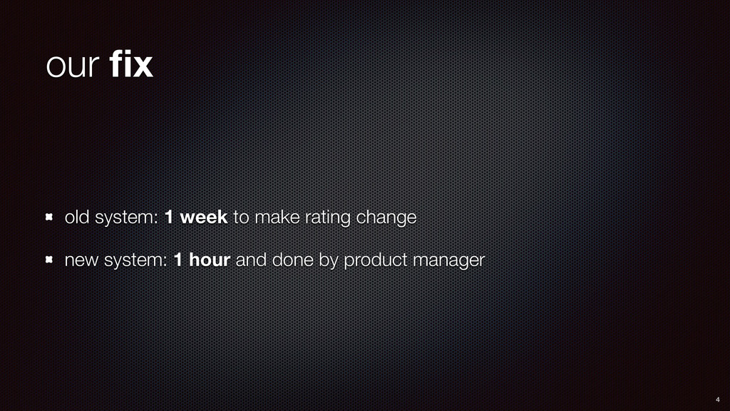 our fix old system: 1 week to make rating change...