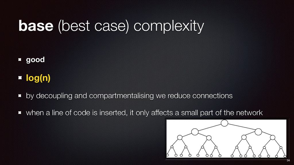 base (best case) complexity good log(n) by deco...