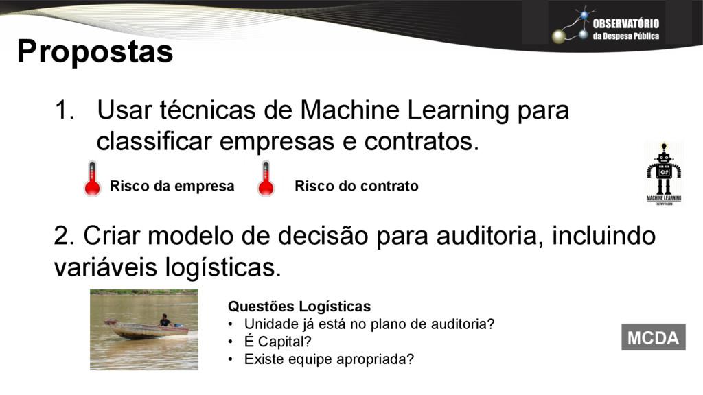 Propostas 1. Usar técnicas de Machine Learning...