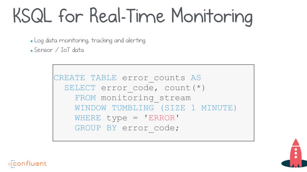 KSQL for Real-Time Monitoring • Log data monito...