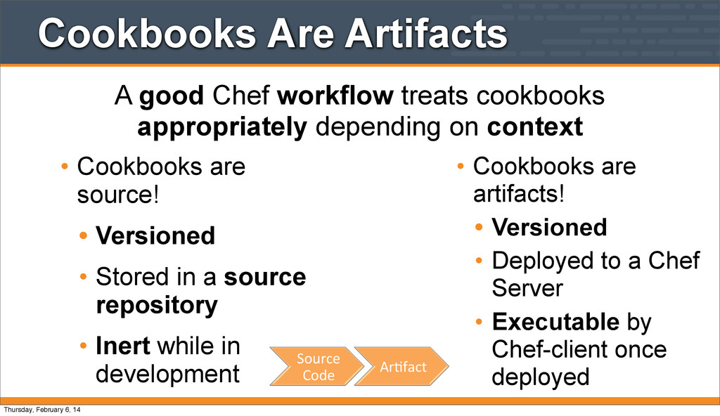 Cookbooks Are Artifacts • Cookbooks are source!...
