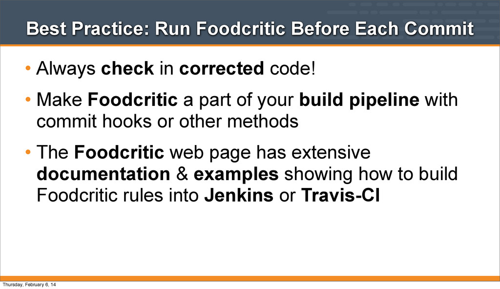 Best Practice: Run Foodcritic Before Each Commi...
