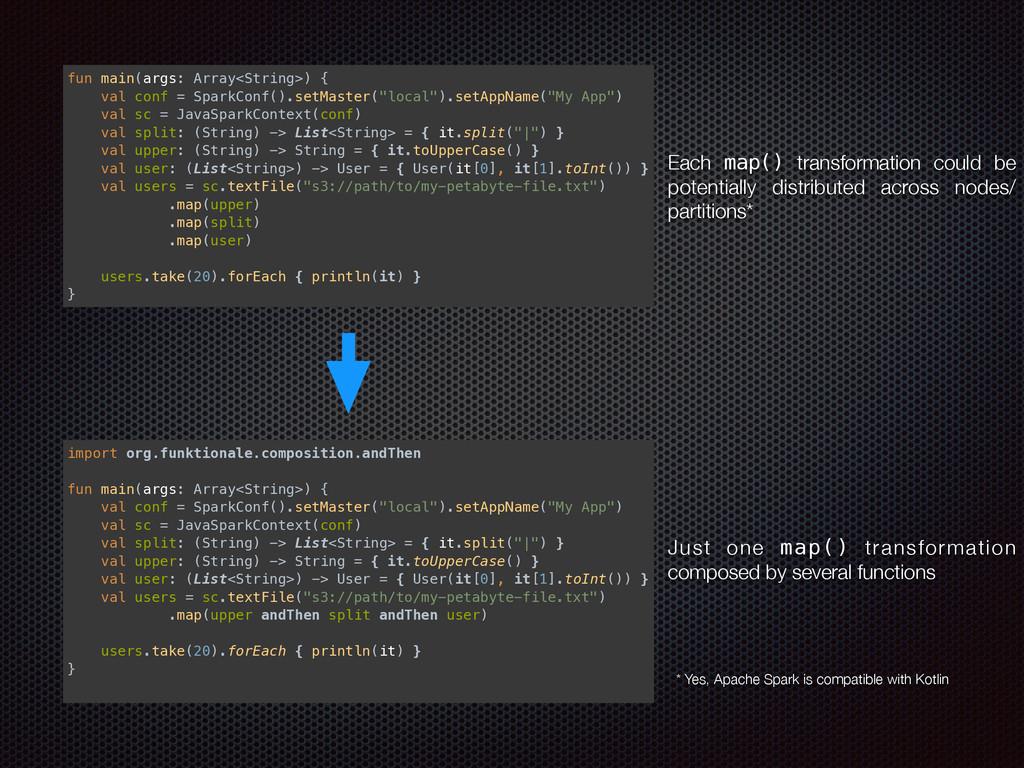 fun main(args: Array<String>) { val conf = Spa...