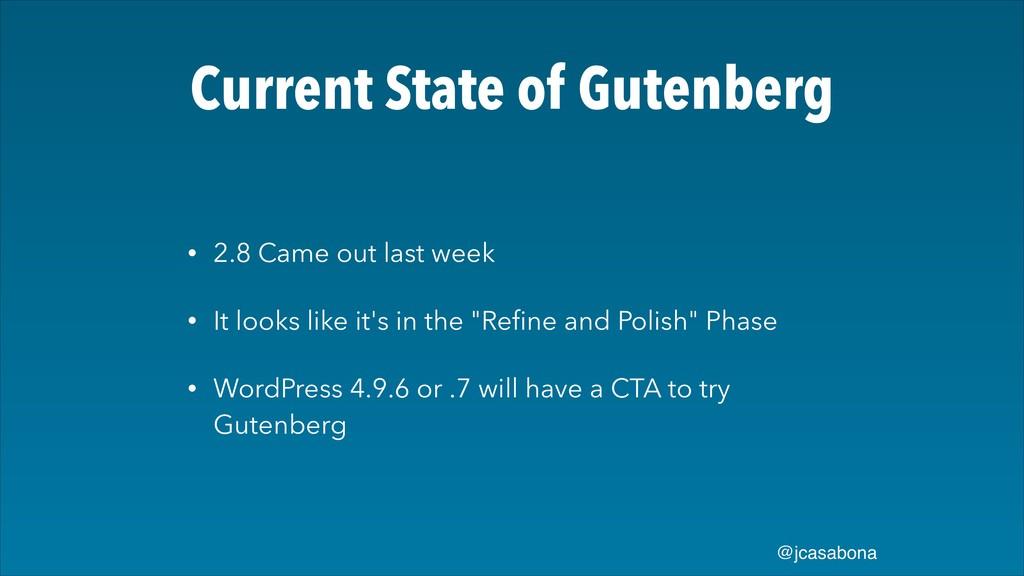 @jcasabona Current State of Gutenberg • 2.8 Cam...