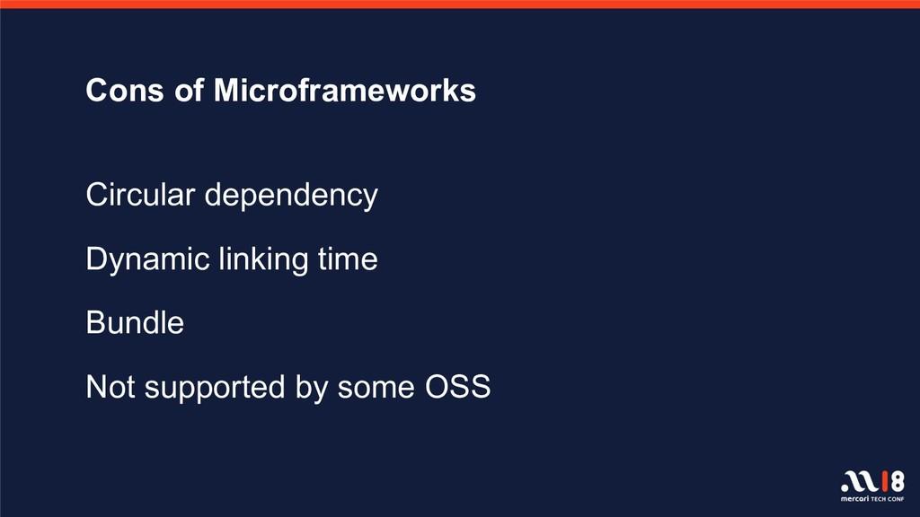 Cons of Microframeworks Circular dependency Dyn...