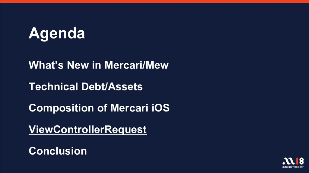 Agenda What's New in Mercari/Mew Technical Debt...