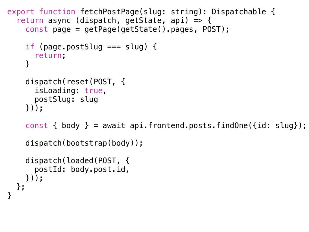 export function fetchPostPage(slug: string): Di...
