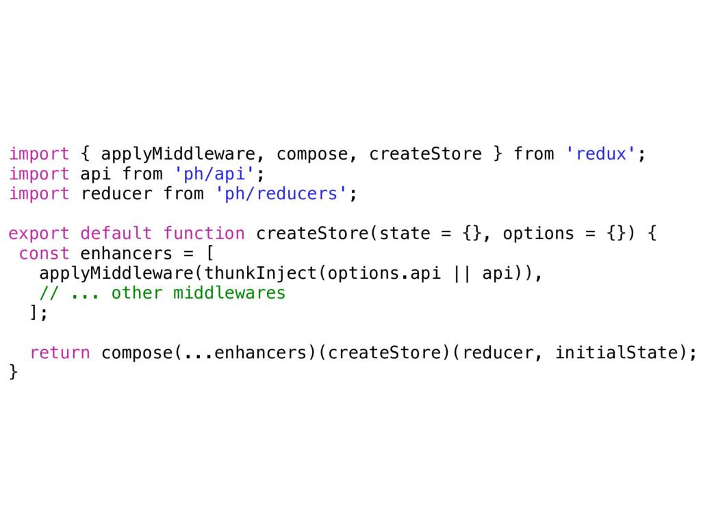 import { applyMiddleware, compose, createStore ...