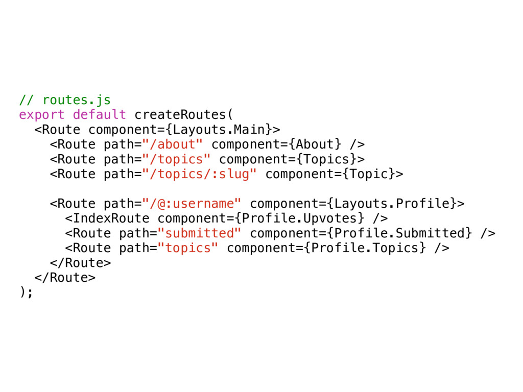 // routes.js export default createRoutes( <Rout...