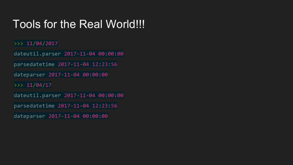 Tools for the Real World!!! >>> 11/04/2017 date...