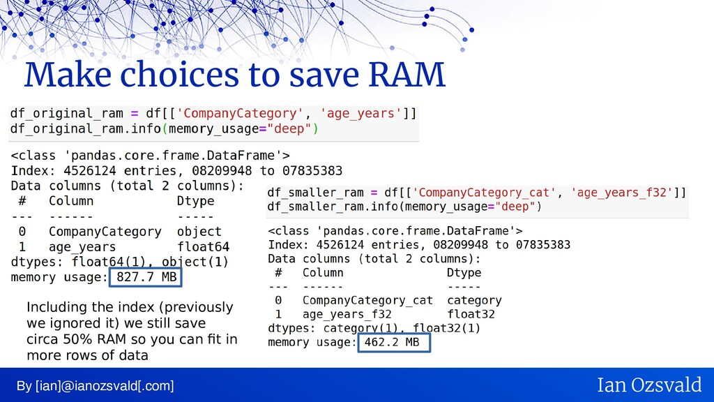 Make choices to save RAM By [ian]@ianozsvald[.c...