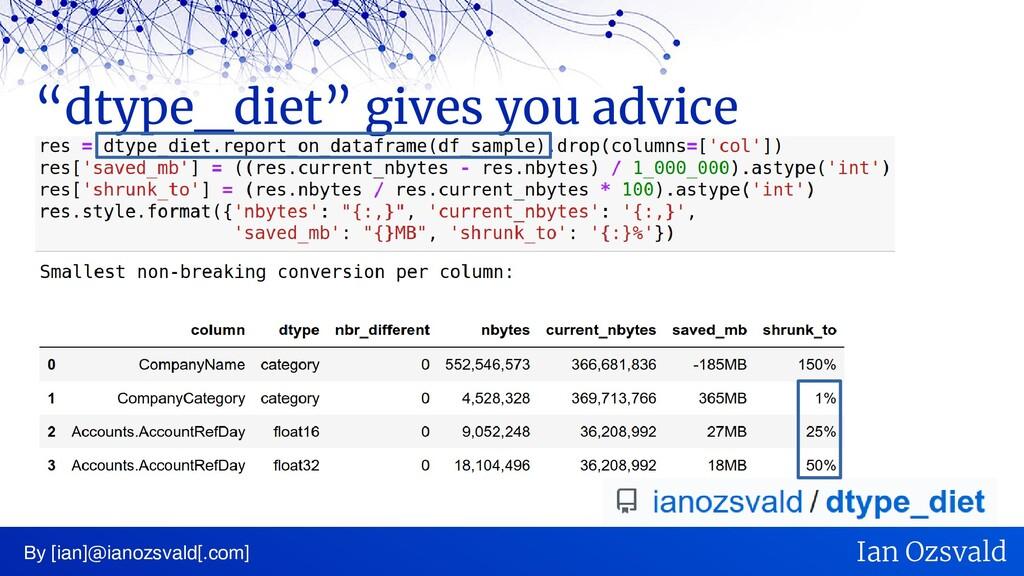 """dtype_diet"" gives you advice By [ian]@ianozsva..."
