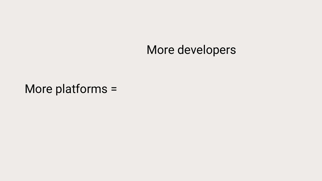 More platforms = More developers More money Mor...