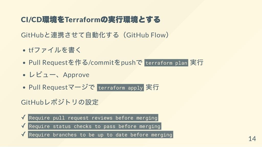 CI/CD 環境をTerraform の実行環境とする GitHub と連携させて自動化する(...