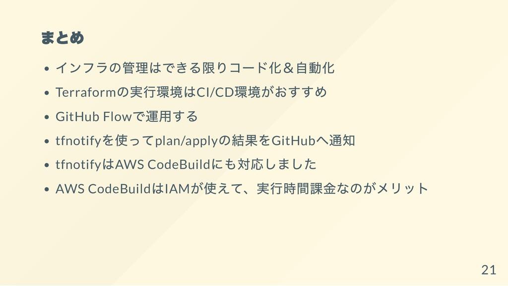 まとめ インフラの管理はできる限りコード化&自動化 Terraform の実行環境はCI/CD...