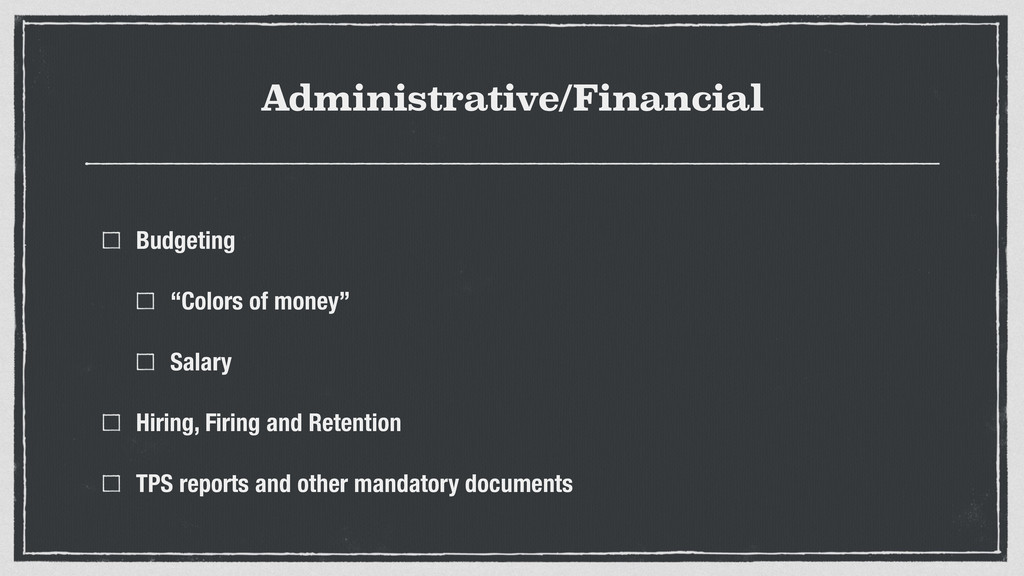 """Administrative/Financial Budgeting """"Colors of m..."""