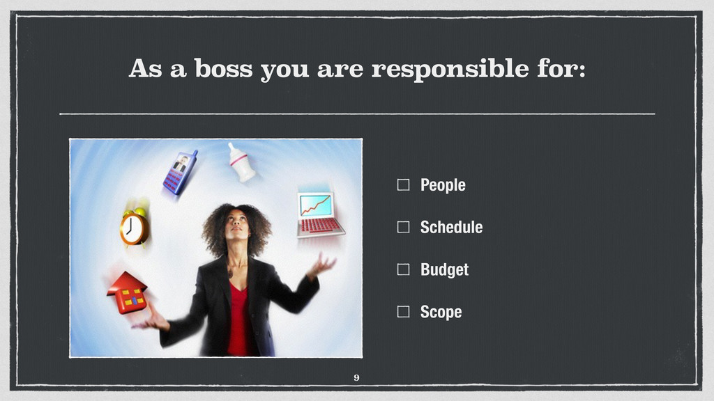 As a boss you are responsible for: People Sched...
