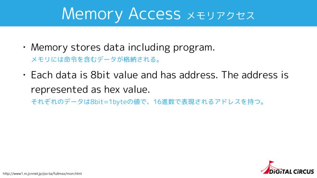 Memory Access メモリアクセス • Memory stores data incl...