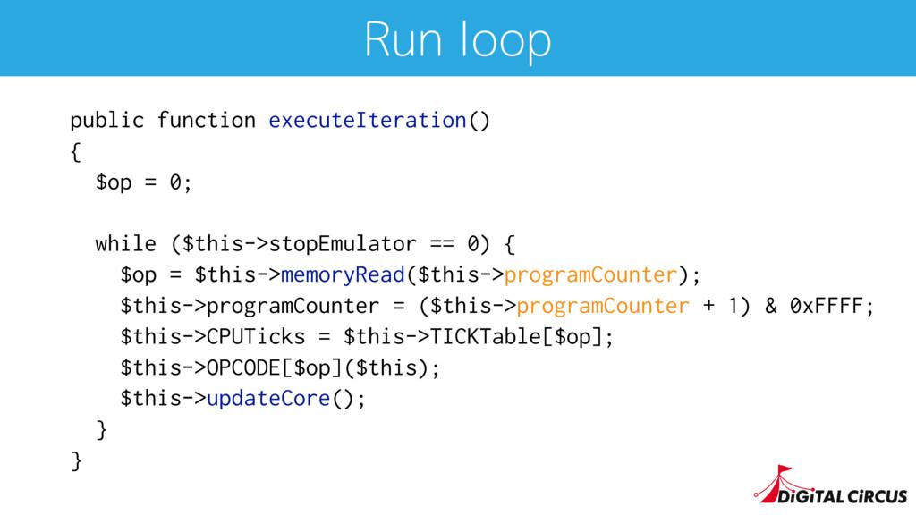 Run loop public function executeIteration() { $...