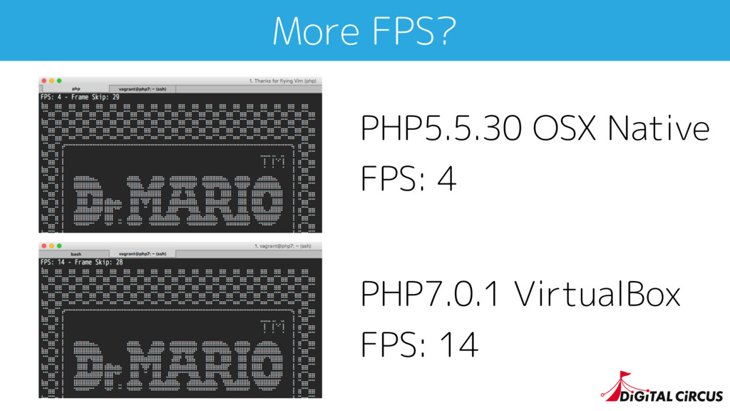 More FPS? PHP5.5.30 OSX Native FPS: 4 PHP7.0.1 ...