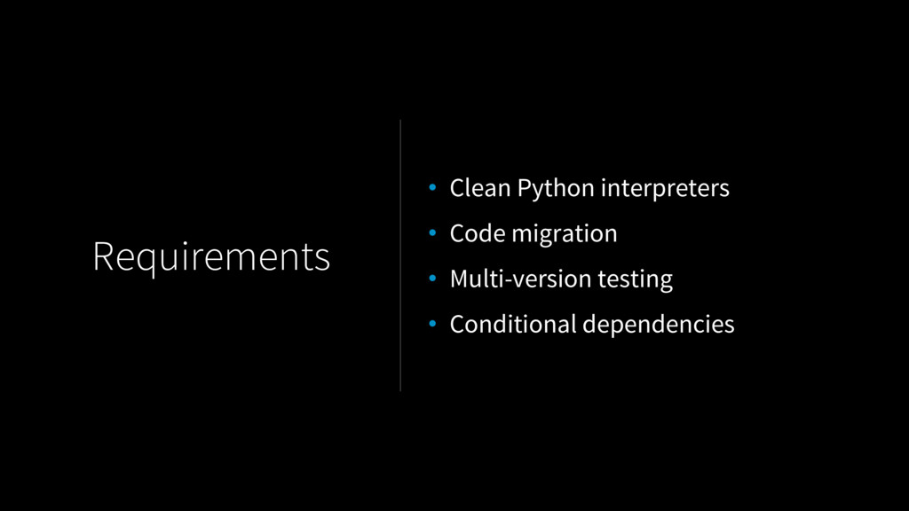 Requirements • Clean Python interpreters • Code...