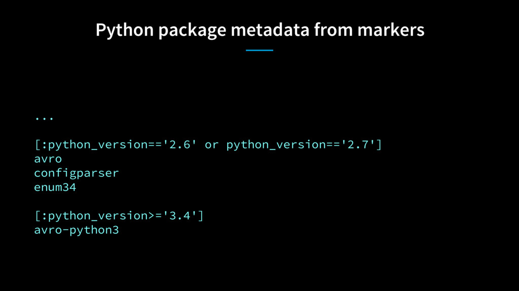 Python package metadata from markers ... [:pyth...