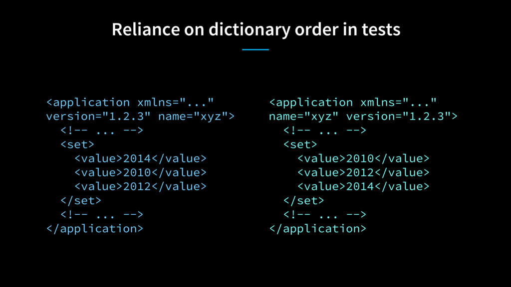 Reliance on dictionary order in tests <applicat...