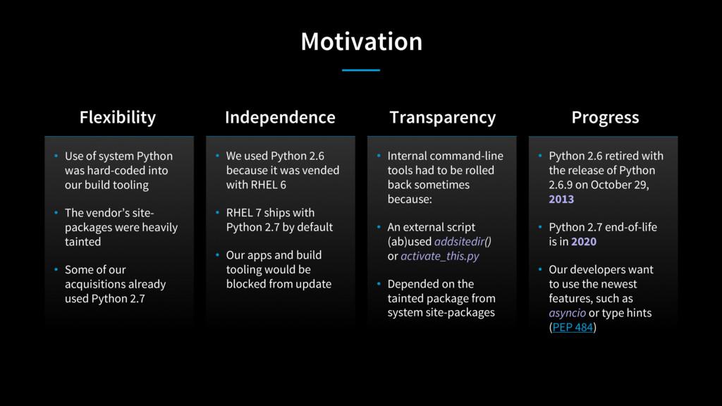 Motivation • Use of system Python was hard-code...