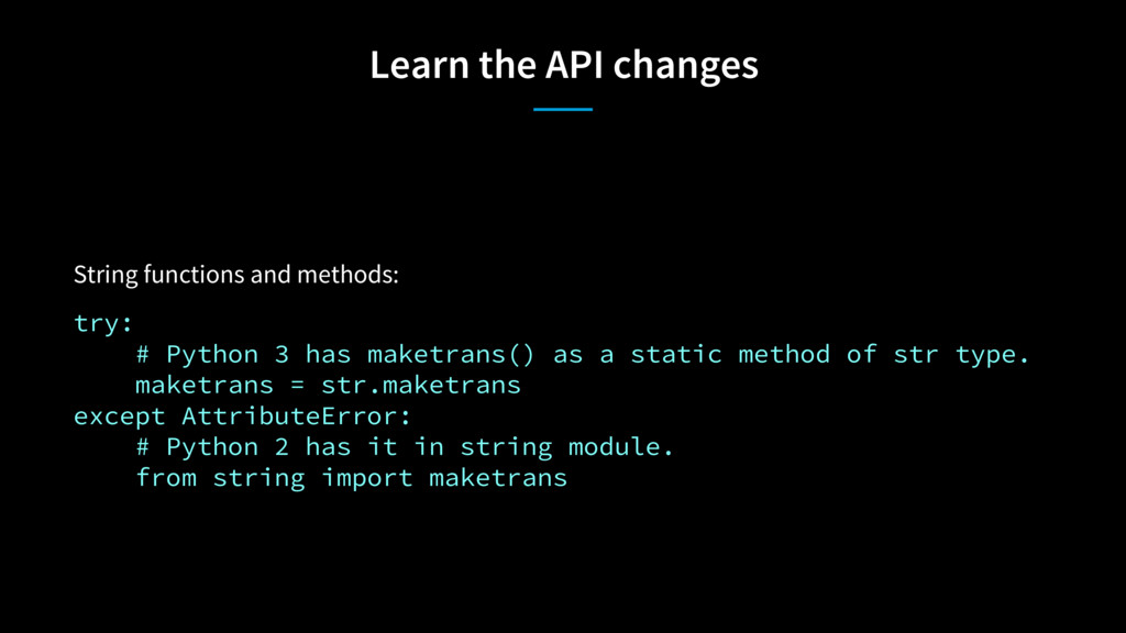 Learn the API changes String functions and meth...