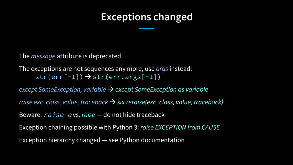 Exceptions changed The message attribute is dep...