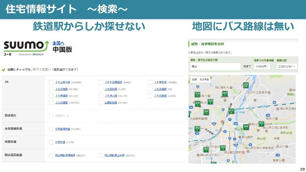 29 住宅情報サイト ~検索~ 鉄道駅からしか探せない 地図にバス路線は無い