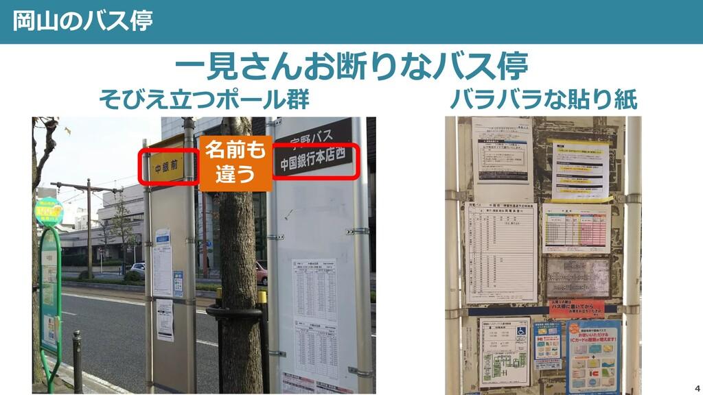 岡山のバス停 4 そびえ立つポール群 バラバラな貼り紙 一見さんお断りなバス停 名前も 違う