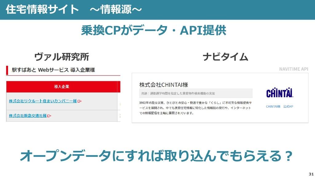住宅情報サイト ~情報源~ 31 オープンデータにすれば取り込んでもらえる? 乗換CPがデータ...