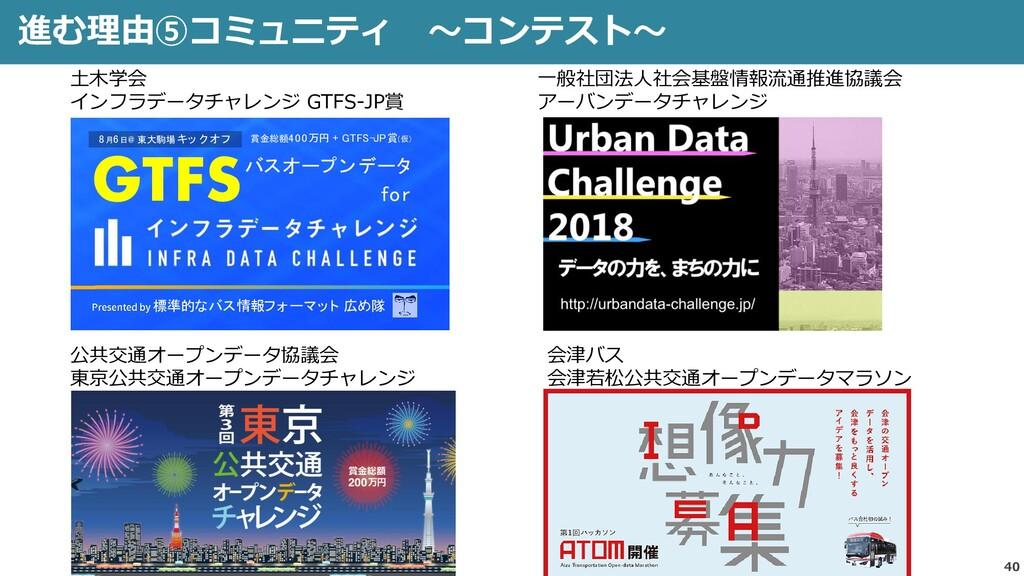 40 進む理由⑤コミュニティ ~コンテスト~ GTFSバスオープンデータ for 標準的なバス...