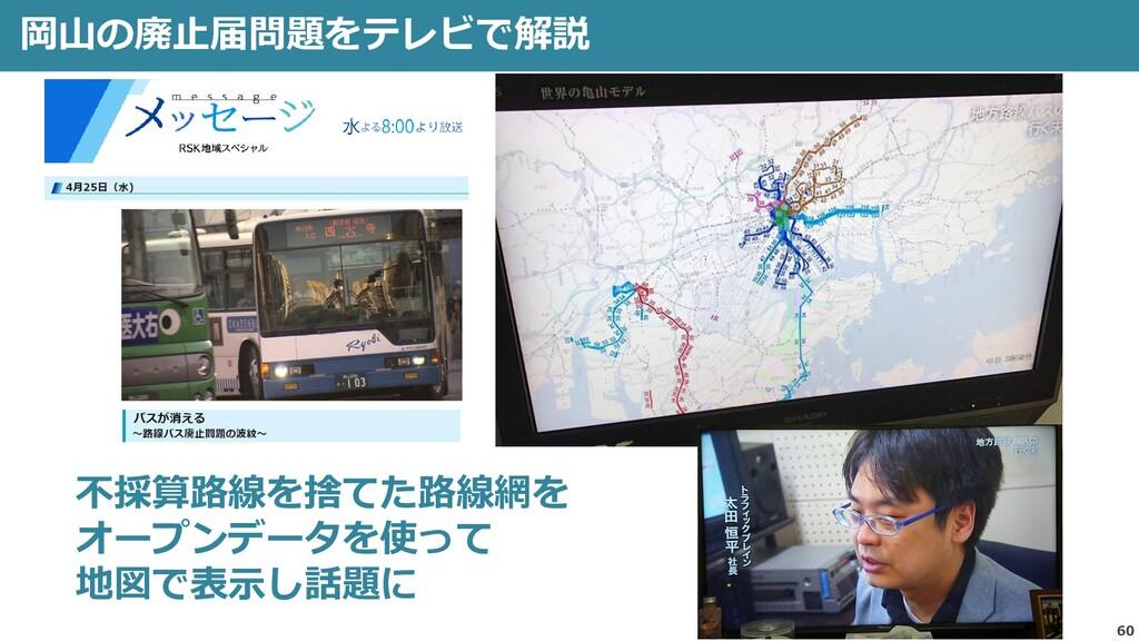 60 岡山の廃止届問題をテレビで解説 不採算路線を捨てた路線網を オープンデータを使って 地図...
