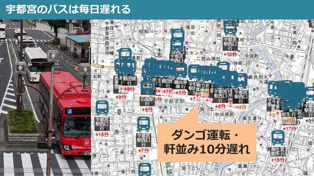 宇都宮のバスは毎日遅れる 8 ダンゴ運転・ 軒並み10分遅れ