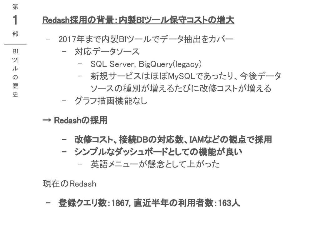 Redash採用の背景:内製BIツール保守コストの増大 - 2017年まで内製BIツールでデ...
