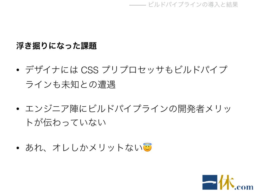 ⸻ ϏϧυύΠϓϥΠϯͷಋೖͱ݁Ռ ු͖۷Γʹͳͬͨ՝ • σβΠφʹ CSS ϓϦϓϩη...